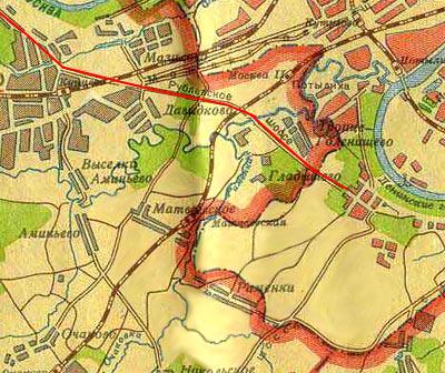 На предвоенной карте Москвы и